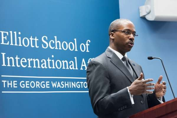 Elliott School of International Affairs Dean Reuben E. Brigety II served as deputy assistant secretary of state in the Bureau of Population, Refugees and Migration.