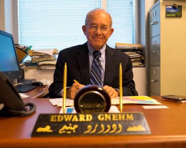 "The Hon. Edward ""Skip"" Gnehm Jr. in his GW office."